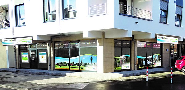 So freundlich präsentieren sich die neuen Räume der Stadtwerke Lohmar an der Hauptstraße  und am Breiter Weg ab April 2017.